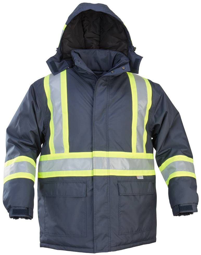 HEAVY POLYESTER/COTTON WINTER PARKA WITH LIME CONTRASTING REFLECTIVE MATERIAL
